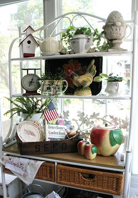 Summer Farmhouse bakers rack - Don't you just LOVE to see what treasures other people have found to display!