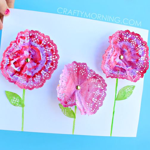 doily flower watercolor craft