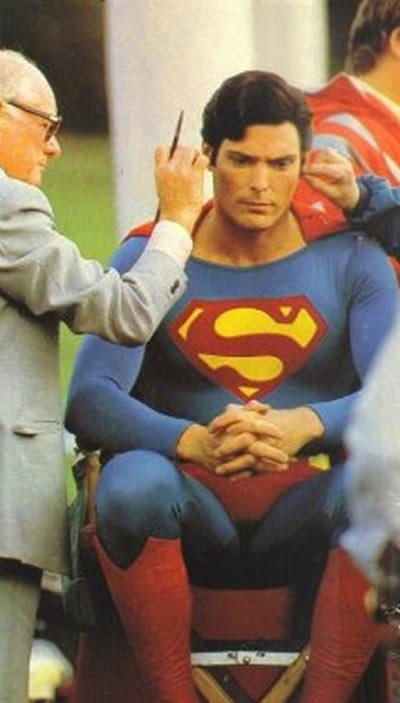 Christopher Reeve being made up.