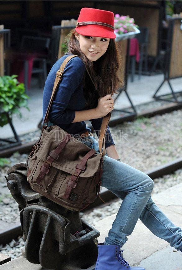 $21.99 Fashion Canvas Shoulder Bag Messenger Bag 2 Colors