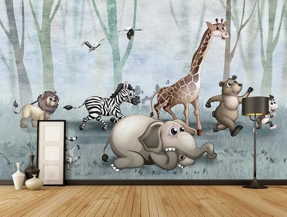 Animals Wallpaper Poster Forest Animal Background Wall Decoration Painting Kids Room Baby Wallpaper