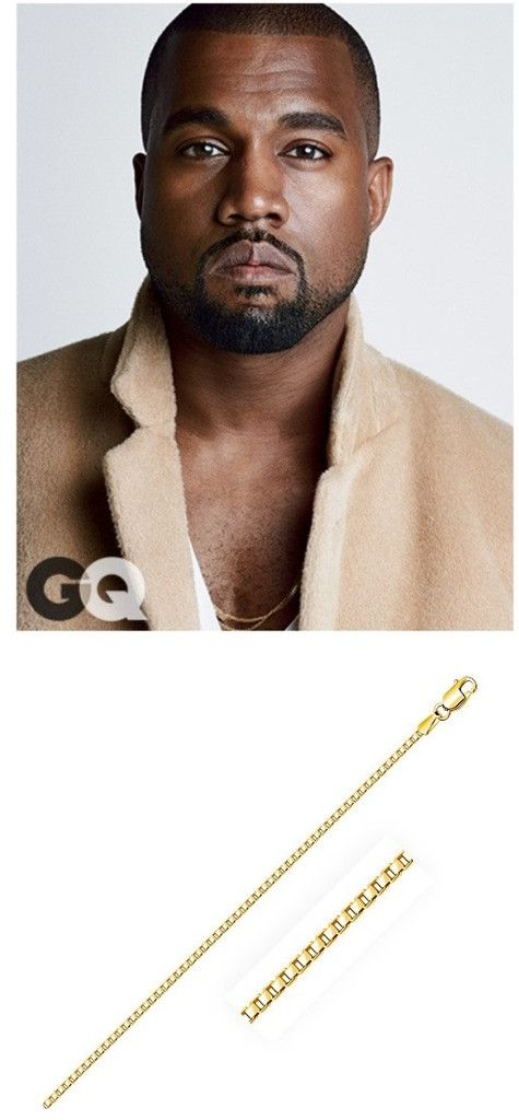 kanye west wearing classic slim gold chains identical