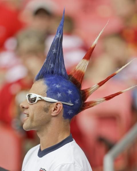A United States fan looks on a CONCACAF Gold Cup soccer game against Cuba, Saturday. (Rick Bowmer/AP)