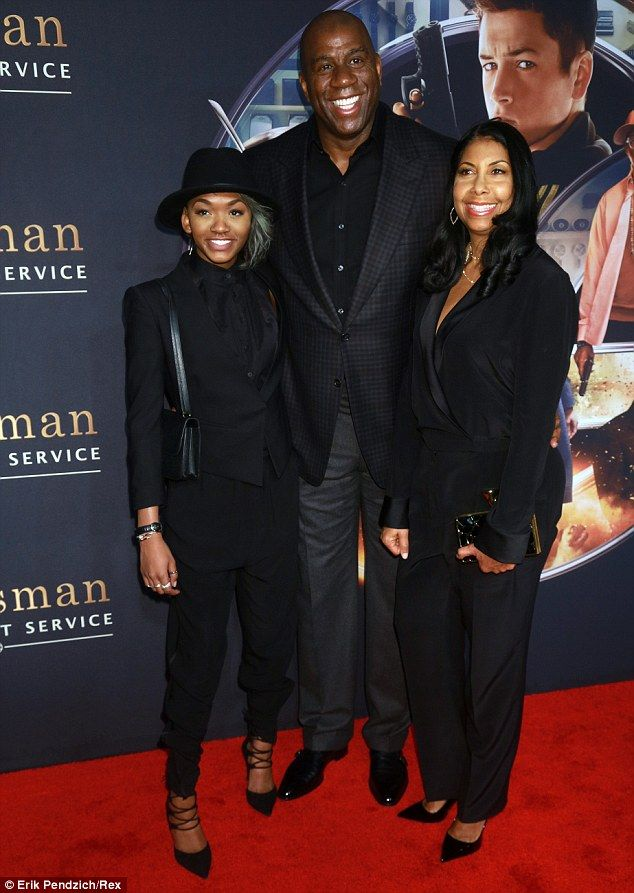 Magic moment: Magic Johnson attended the premiere with his wife Cookie and their daughter ...
