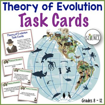 This is a set of 57 enrichment, reinforcement and review task cards for your lessons on evolution. Students will answer questions about the life and travels of Charles Darwin and the events that led him to develop his theory of evolution. Students will use their critical thinking skills to explain the evidence for evolution, and to give examples of the different patterns of evolution. Students will explore natural selection, artificial selection, the controversies surrounding Darwin's…