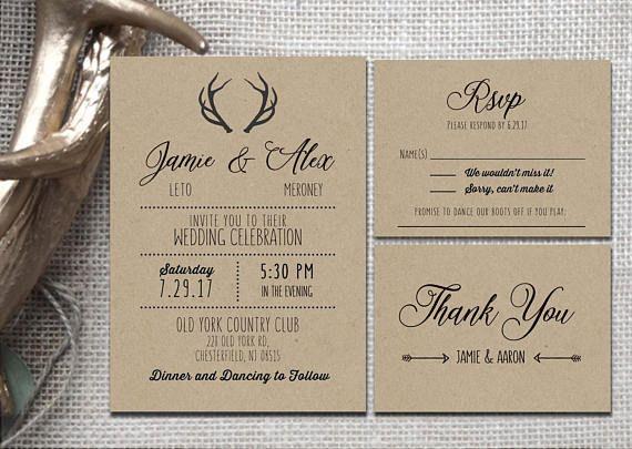 Rustic Brown Kraft Wedding Invitations Itemized Wedding Etsy Kraft Wedding Invitations Kraft Wedding Wedding Invitations