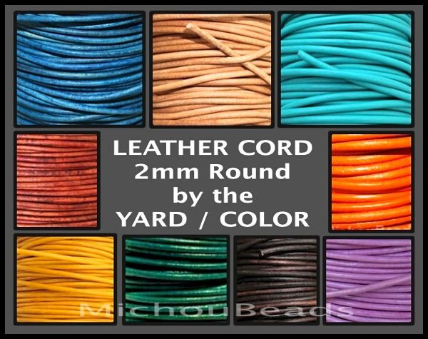 2mm Round Indian LEATHER Cord - Lead Free Natural Regular Distressed Metallic Leather by the Yard Wholesale - Pick COLOR / LENGTH - Usa by MichouBeads on Etsy https://www.etsy.com/listing/181728023/2mm-round-indian-leather-cord-lead-free
