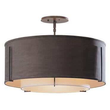 Exos medium double shade semi flush ceiling light hubbardton forge at lightology