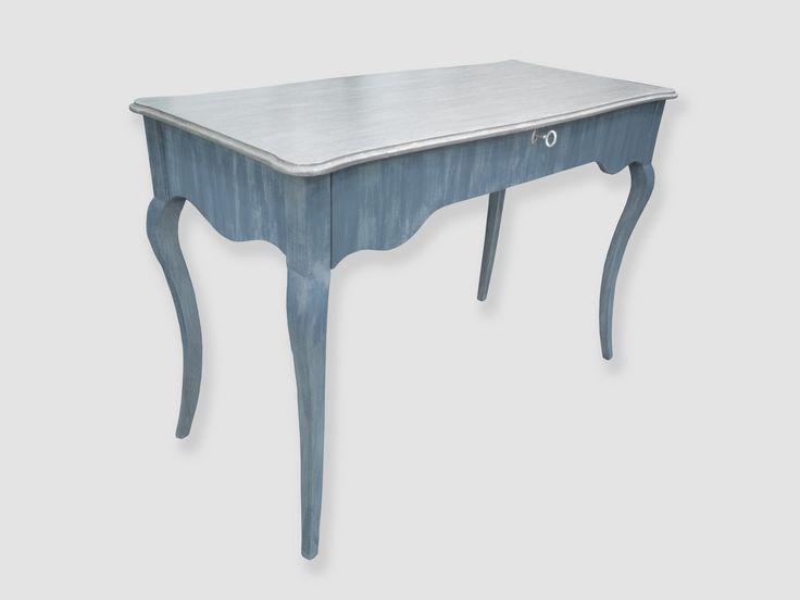 Mesa de despacho en color azul grisáceo y tapa en pan de plata, ilumina tu casa o despacho con un mueble exclusivo, bello y util.