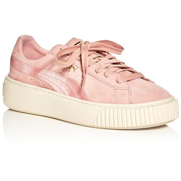 Puma Women's Satin Stripe Platform Lace Up Sneakers ($115) ❤ liked on Polyvore featuring shoes, sneakers, striped shoes, puma shoes, puma footwear, satin shoes and lacing sneakers