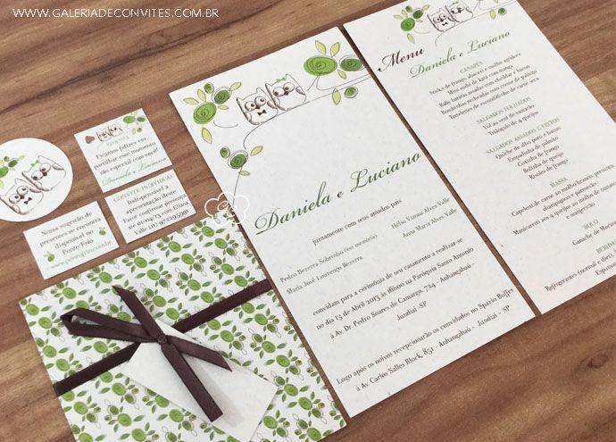 Identidade visual casamento composta por convite de casamento, envelope estampado, convite individual, cartão de agradecimento. Modelo 76