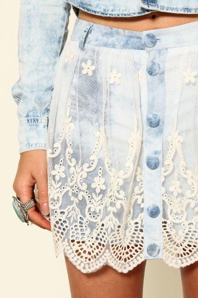 short saia jeans renda