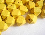 Geometric Yellow  Wood Beads 20mm Big Hole, Geometric Jewelry