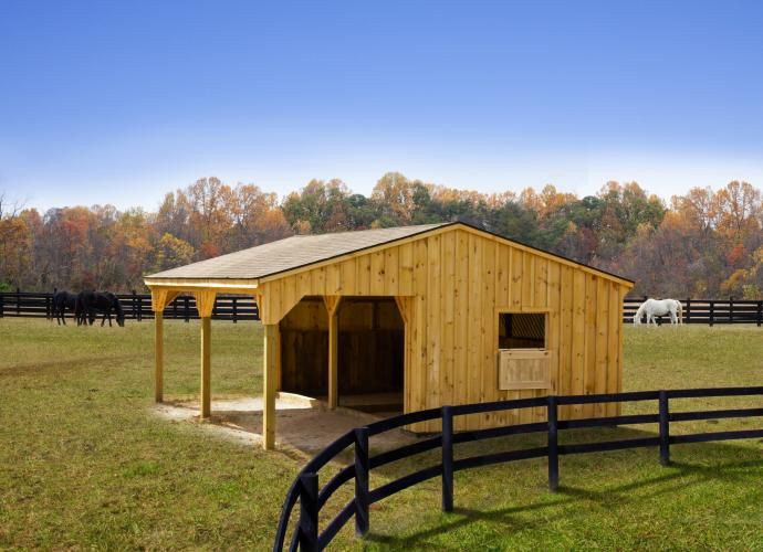 12 x 24 run in horse barn white pine board and batten 2 stall horse barn