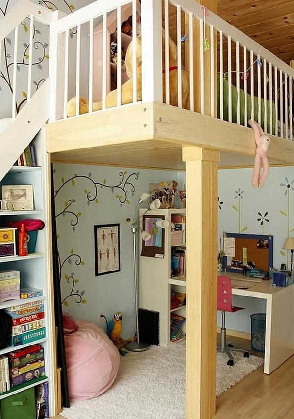 Furniture, Wooden Design For Bunk Bed With A Deck Underneath That Look So Neat In The Kid Room With Great Wallpaper Also Comfortable Desk With Rug And Bookshelf With Pink Chair With Mirror And Some Accessories ~ Designing Your Kid's Room With Using A Bunk Bed With A Desk Underneath