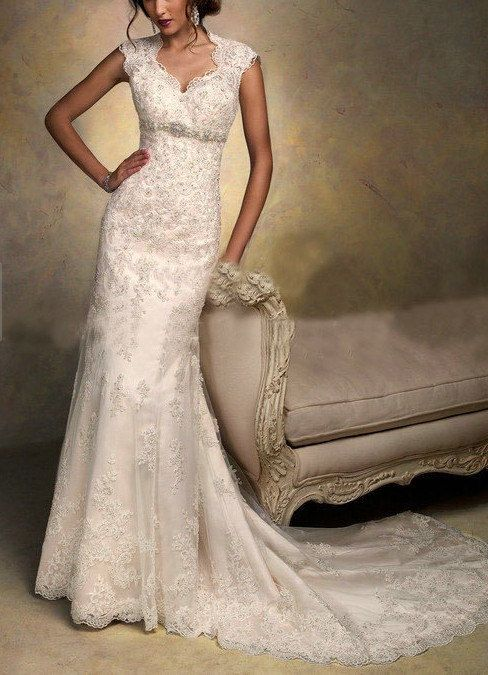 2014 New Cap Sleeve Wedding Dress upscale Lace by Perfectdresses