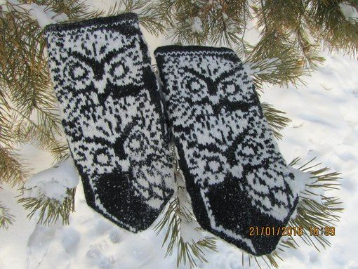 Owl pattern for mittens