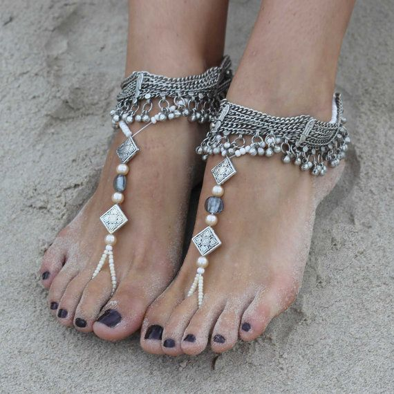 Antique Silver anklets and barefoot sandals with gorgeous silver charms. Sold as pair! Style: My sun and stars B1425