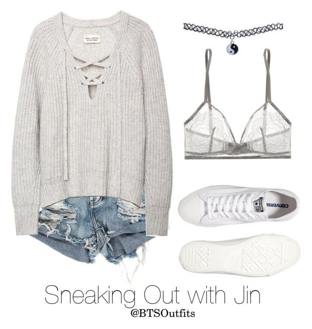"""Sneaking Out with Jin"" by btsoutfits ❤ liked on Polyvore featuring Converse, Wet Seal and Eres"