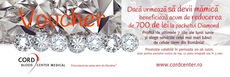 Daca urmeaza sa devii mamica, beneficiaza acum de reducerea de 700 de lei la pachetul Diamond. Promotie valabila in perioada 20-26 iunie. Afla cum poti intra in posesia voucher-ului aici: http://www.cordcenter.ro/promotia-diamond.html