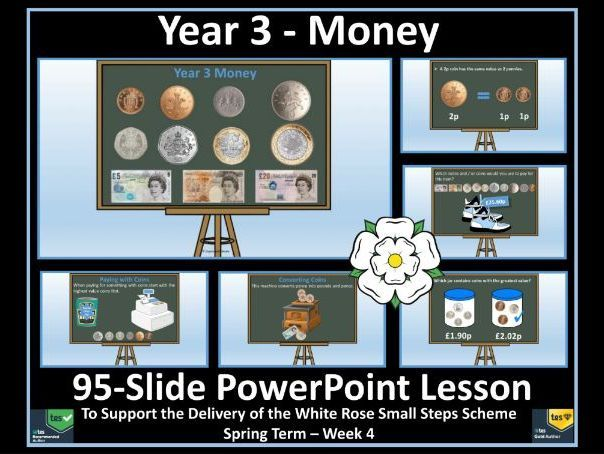 Year 3 Money PowerPoint Lesson (95 Slides) to Support the White Rose Maths Small Steps Scheme