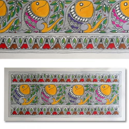 Shop Madhubani Tattoo Painting Featuring Fishes by Kalakruti online. Largest collection of Latest Wall Art and Paintings online. ✻ 100% Genuine Products ✻ Easy Returns ✻ Timely Delivery