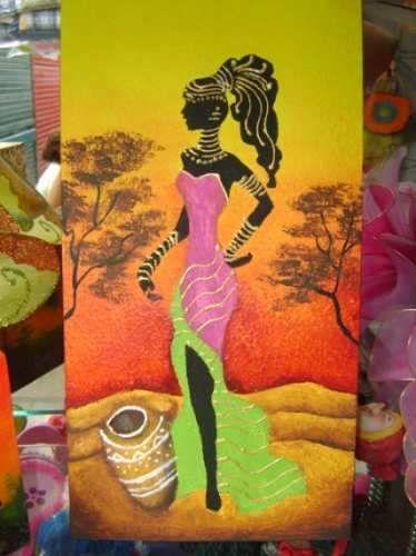 Cuadro Texturado: Africana En El Desierto