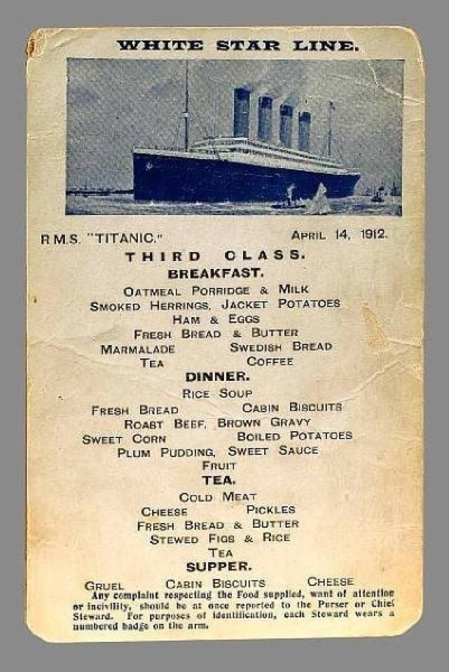 the menu for third class on the titanic titanic fan page