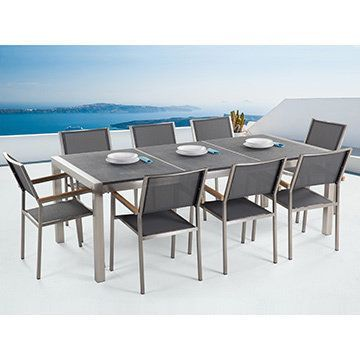 Beliani Outdoor Dining Set For 8   Black Granite Table Top   Grey Chairs    Grosseto