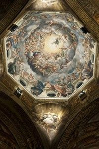 Correggio: High Renaissance Painter, Quadratura, Parma School    The Assumption of the Virgin, Ceiling Fresco (1526-30) Cathedral of Parma, Italy. A wonderful work of Christian art from the High Renaissance.