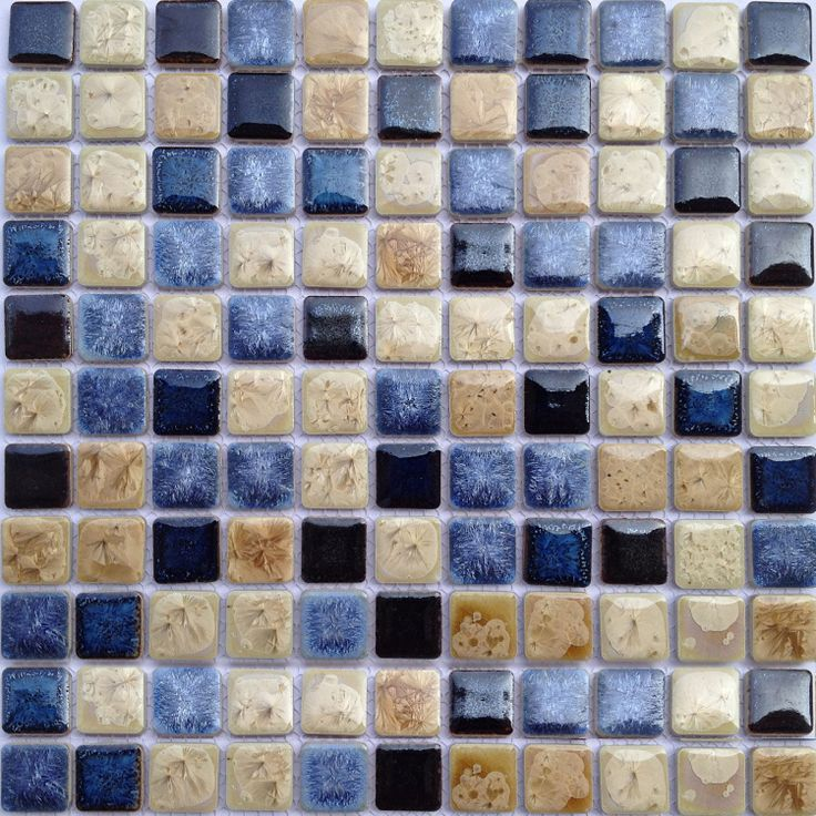 Tst ceramic mosaics sky blue beige square fambe glossy for Swimming pool ceramic tile