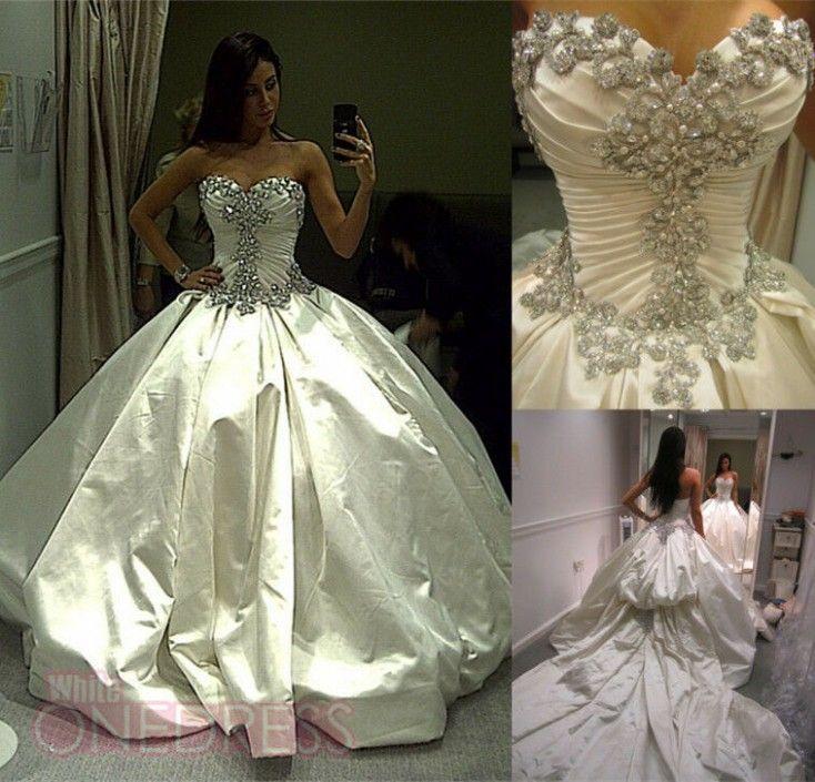 White Princess Wedding Dresses With Diamonds