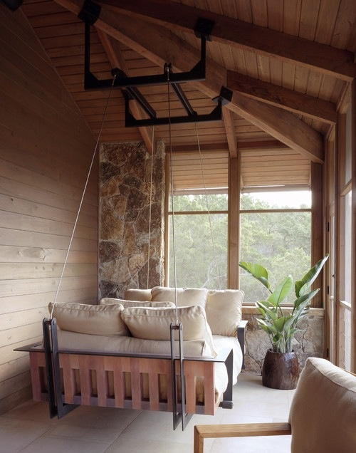 Awesomely cool swing chair perfect for a semi enclosed for Cool porch swings