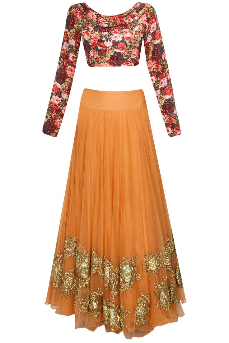 Peach rose embroiderd lehenga with black rose printed blouse and attached dupatta available only at Pernia's Pop Up Shop.