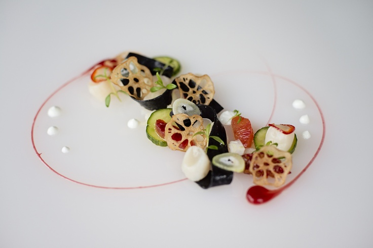 Winter Menu 2013 - Bay Scallop Ceviche with Pasta Ribbons and Confit Blood Orange