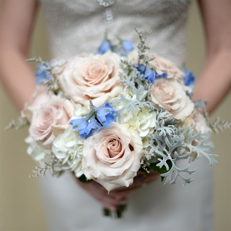 Pink and blue bridal bouquet soft pink roses white for Pink and blue flower arrangements