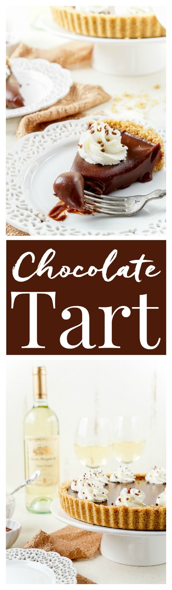 This 5-Ingredient No Bake Milk Chocolate Tart is both simple and decadent! It pairs beautifully with milk or Pinot Grigio for the perfect date night dessert! #SantaMargherita #ad
