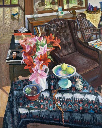 Verandah and studio with Lillie's and lemons 2012oil on linen82 x 66 cmW Robinson at Australia Galleries