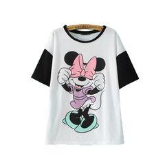 2015 летом новый корейский моде дамы Микки Маус мультфильма печатных короткими рукавами футболки Цвет заклинание рубашка с Девушкой
