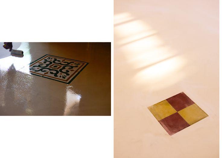 mosaicos calcáreos como detalles en el microcemento