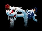Jade Jones of Great Britain competes against Hou Yuzhuo of China