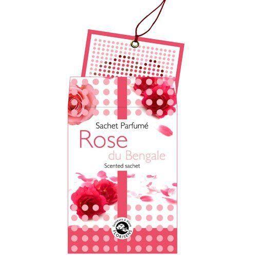 Sachet parfumé Rose du Bengale – Florisens: - sachet parfumé à la rose du bengale - s'utilise où vous le souhaitez : voiture, penderie,…