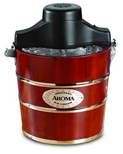 Aroma Housewares 4-Quart Traditional Ice Cream Maker, Fir Wood