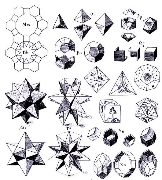 Here are some polyhedra from Kepler's work.  Also see http://en.wikipedia.org/wiki/Johannes_Kepler for more on Kepler.  #polyhedra #geometry