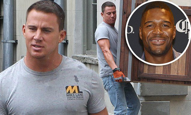 Channing Tatum shows off sculpted arms as he films Magic Mike XXL