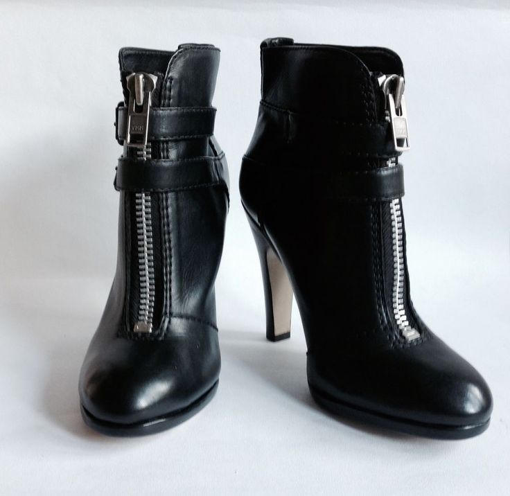 Topshop Black Steampunk Leather Double Side Buckle Front Zip Ankle Boot UK 7  | eBay