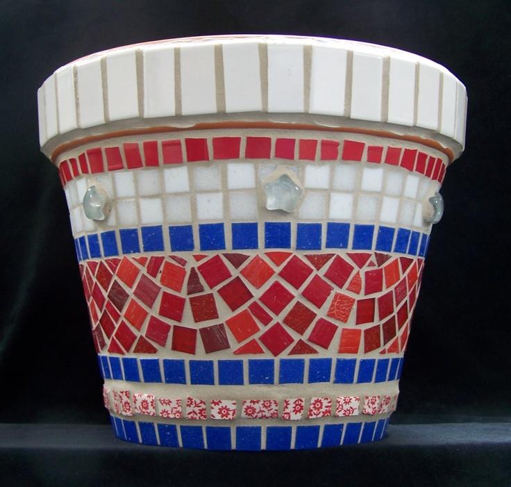 Large Americana mosaic flowerpot