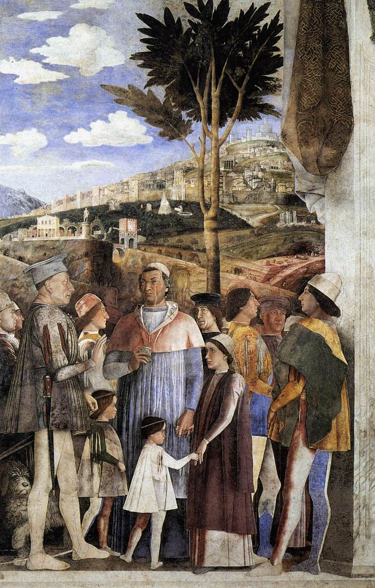 Andrea Mantegna - The Meeting (Lodovico Gonzaga awaits the return from Rome of his son, Cardinal Francesco Gonzaga)  1465-74  Walnut oil on plaster.  Camera degli Sposi, Palazzo Ducale, Mantua