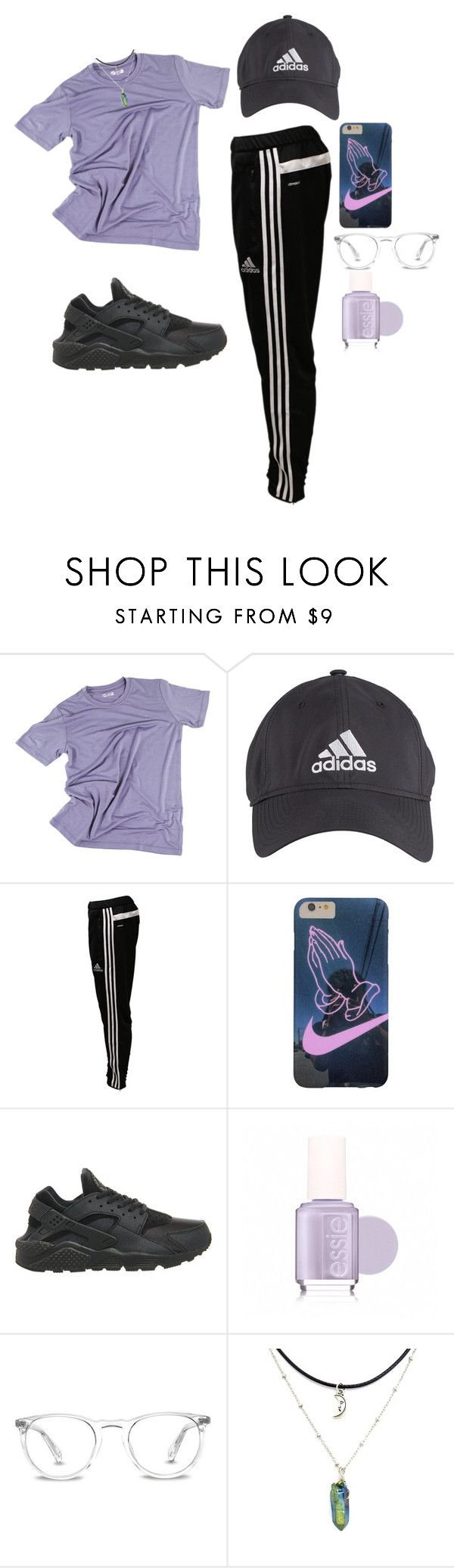 """""""90s sportswear"""" by stellaluna899 ❤ liked on Polyvore featuring adidas, NIKE, Essie and Warby Parker"""