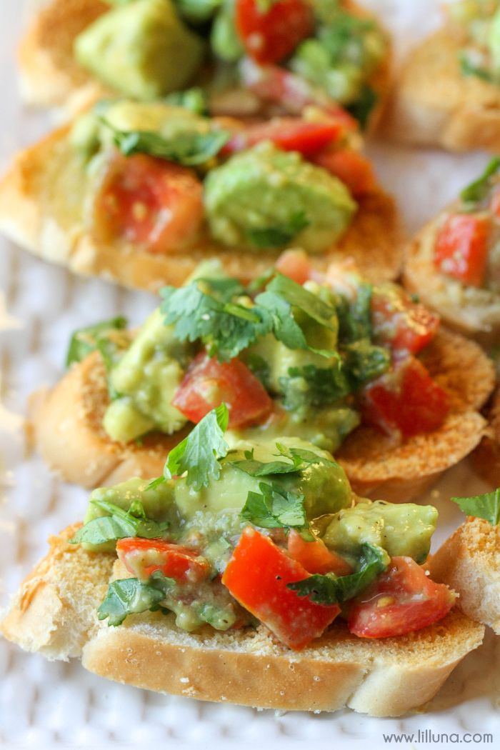 Guacamole Bruschetta - Lil'Luna - a simple, quick and delicious appetizer filled with tomato and avocados!
